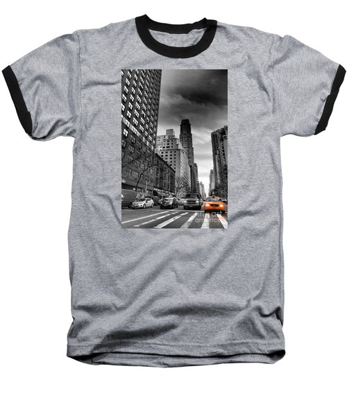 Yellow Cab One - New York City Street Scene Baseball T-Shirt