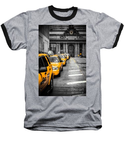 Yellow Cabs Waiting - Grand Central Terminal - Bw O Baseball T-Shirt