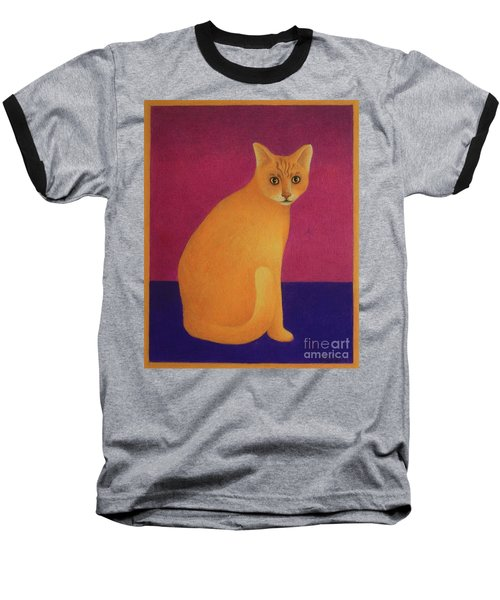 Baseball T-Shirt featuring the painting Yellow Cat by Pamela Clements