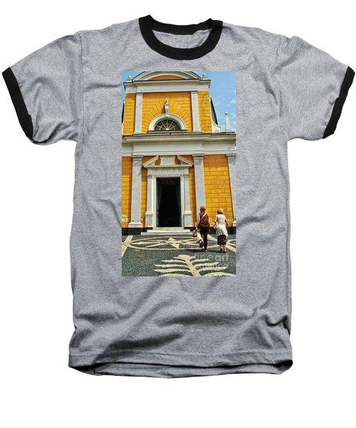 Baseball T-Shirt featuring the photograph Yellow Church by Allen Beatty