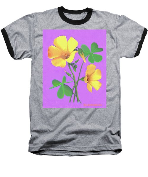 Baseball T-Shirt featuring the painting Yellow Clover Flowers by Sophia Schmierer