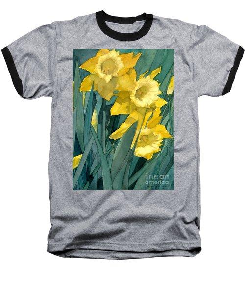 Watercolor Painting Of Blooming Yellow Daffodils Baseball T-Shirt