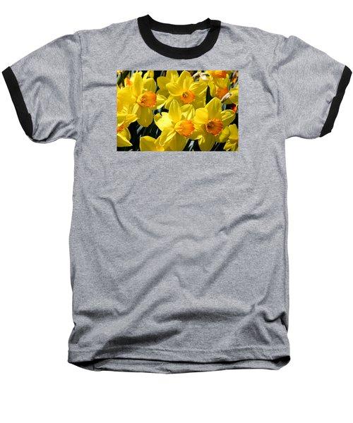 Yellow Daffodils Baseball T-Shirt by Menachem Ganon