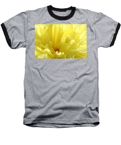 Yellow Dahlia Burst Baseball T-Shirt by Ben and Raisa Gertsberg