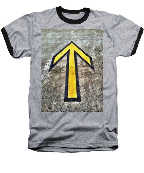 Yellow Directional Arrow On Pavement Baseball T-Shirt
