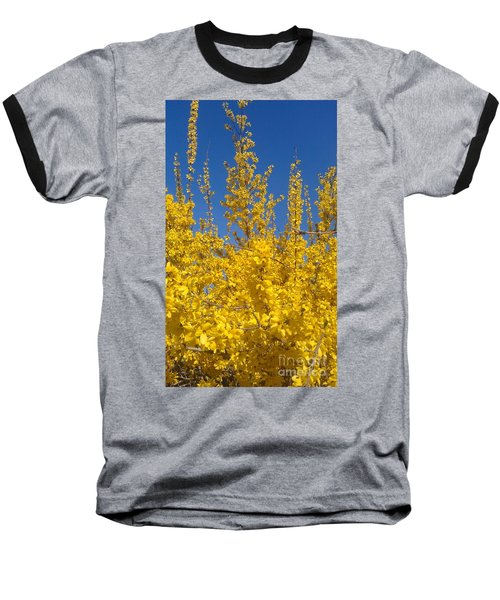 Yellow Explosion Baseball T-Shirt by Melissa Petrey