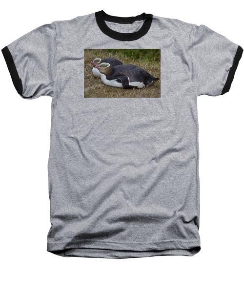 Sleeping Yellow Eyed Penguins Baseball T-Shirt
