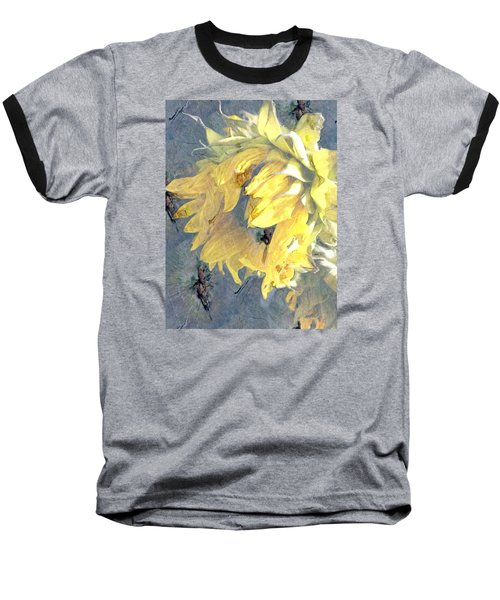 Yellow Fading Flower Baseball T-Shirt by Patricia Januszkiewicz
