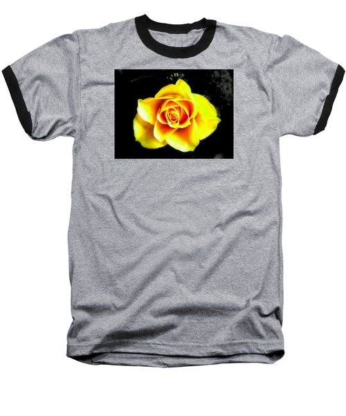 Yellow Flower On A Dark Background Baseball T-Shirt