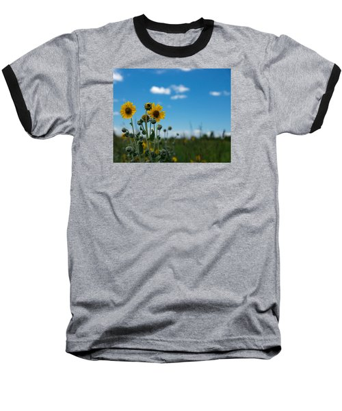 Yellow Flower On Blue Sky Baseball T-Shirt by Photographic Arts And Design Studio