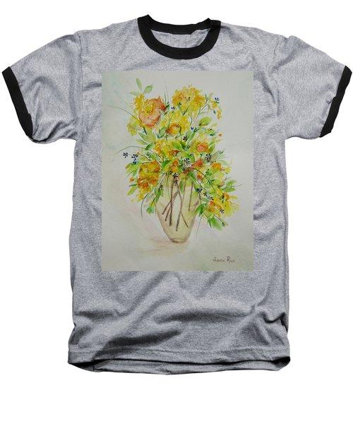 Yellow Flowers Baseball T-Shirt by Judith Rhue