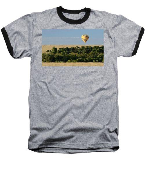 Baseball T-Shirt featuring the photograph Yellow Hot Air Balloon Masai Mara by Tom Wurl
