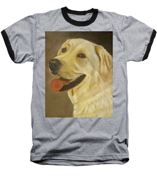 Baseball T-Shirt featuring the painting Yellow Lab by Sharon Schultz