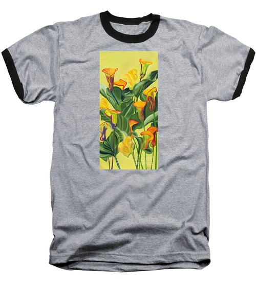 Yellow Lilies Baseball T-Shirt