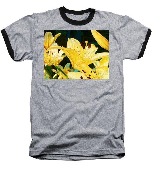 Yellow Lilies Baseball T-Shirt