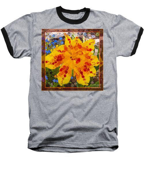 Yellow Lily With Streaks Of Red Abstract Painting Flower Art Baseball T-Shirt
