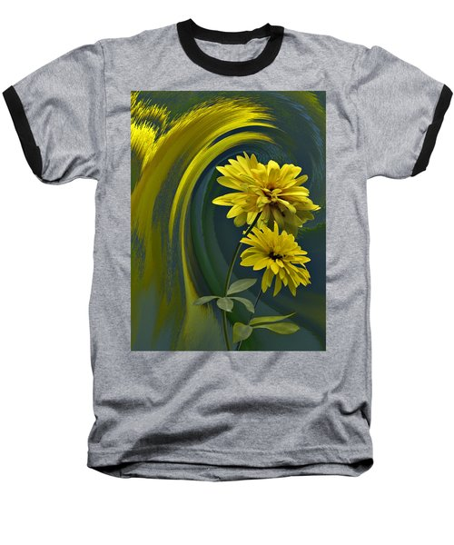 Baseball T-Shirt featuring the digital art Yellow Mum Fantasy by Judy  Johnson