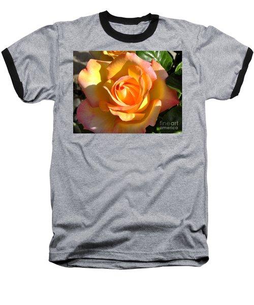 Yellow Rose Bud Baseball T-Shirt by Debby Pueschel