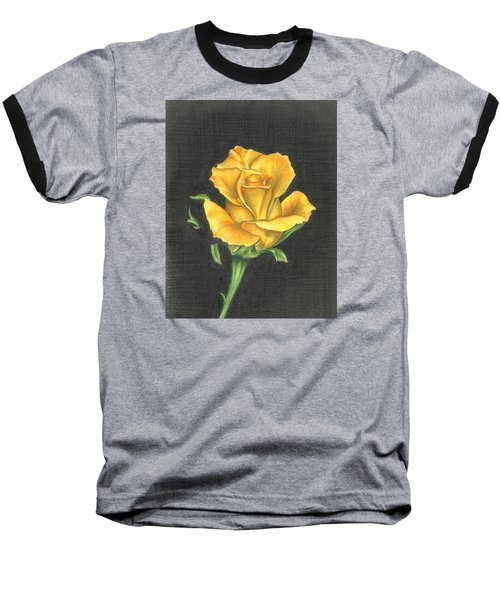 Baseball T-Shirt featuring the drawing Yellow Rose by Troy Levesque
