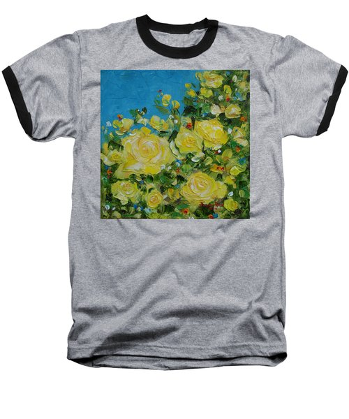 Baseball T-Shirt featuring the painting Yellow Roses by Judith Rhue