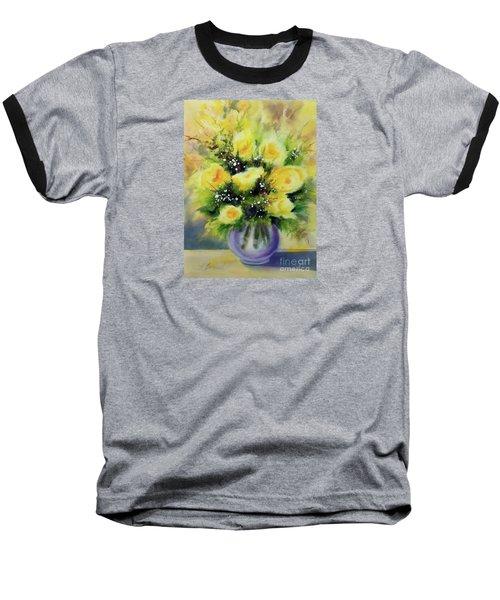 Yellow Roses Baseball T-Shirt by Kathy Braud