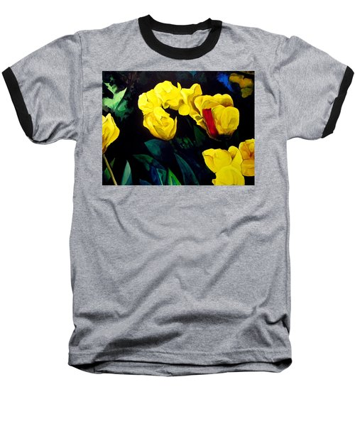 Yellow Tulips Baseball T-Shirt