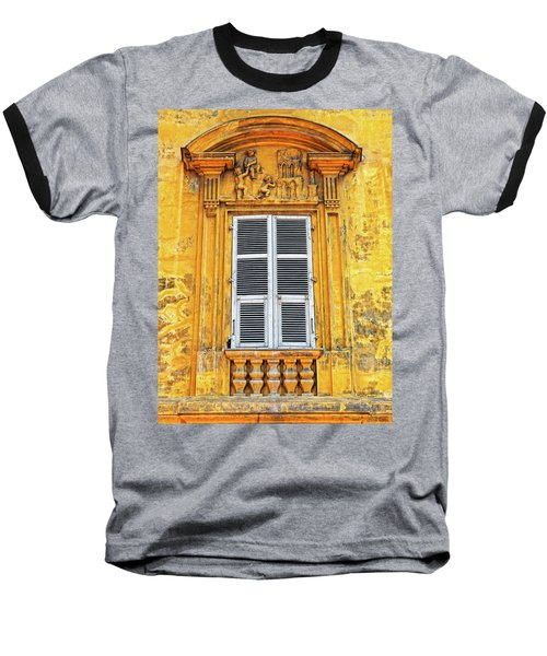 Baseball T-Shirt featuring the photograph Yellow Window Nice France by Dave Mills