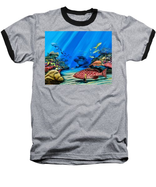 Yellowfin Grouper Wreck Baseball T-Shirt