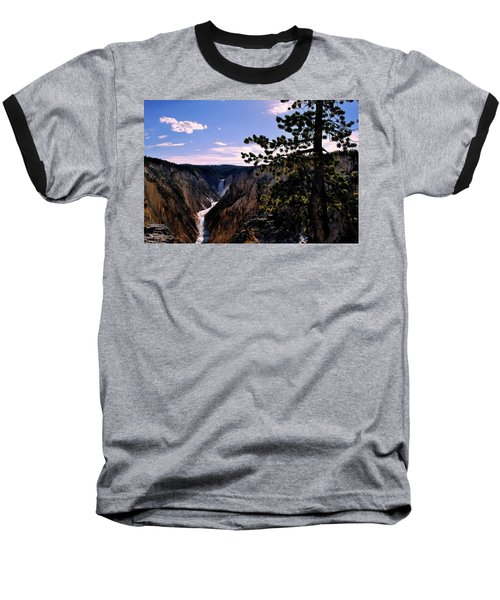 Yellowstone Waterfall Baseball T-Shirt