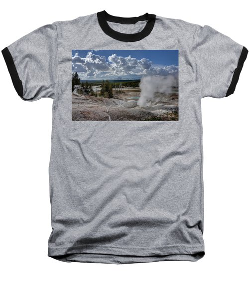 Yellowstone's Norris Geyser Basin Baseball T-Shirt