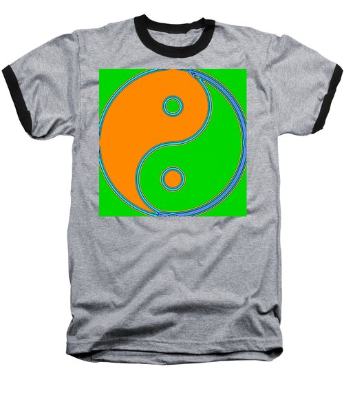 Yin Yang Orange Green Pop Art Baseball T-Shirt by Eti Reid