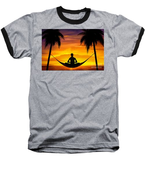 Yoga At Sunset Baseball T-Shirt