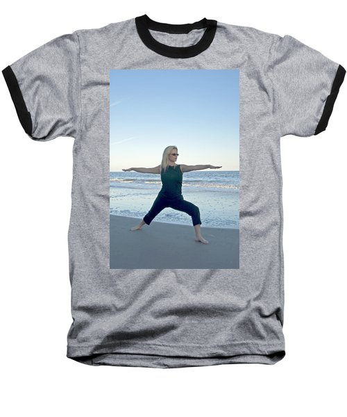 Yoga Woman On The Beach Baseball T-Shirt
