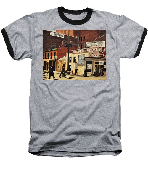 Baseball T-Shirt featuring the painting Yonge And Richmond Streets 1899 by Kenneth M  Kirsch