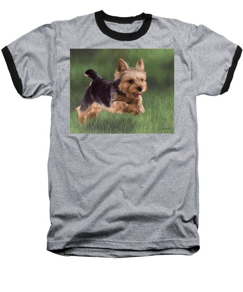 Yorkshire Terrier Painting Baseball T-Shirt