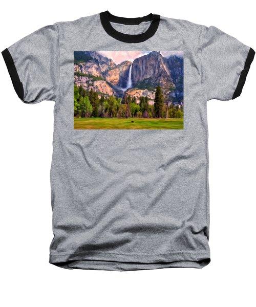Baseball T-Shirt featuring the painting Yosemite Falls by Michael Pickett