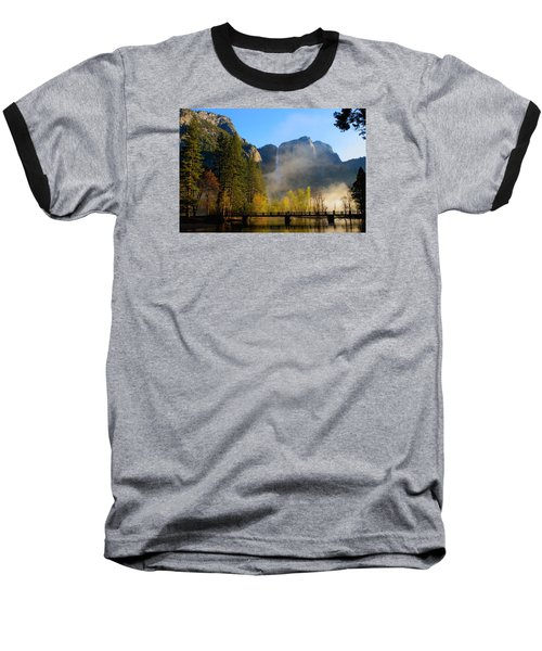 Yosemite River Mist Baseball T-Shirt by Duncan Selby