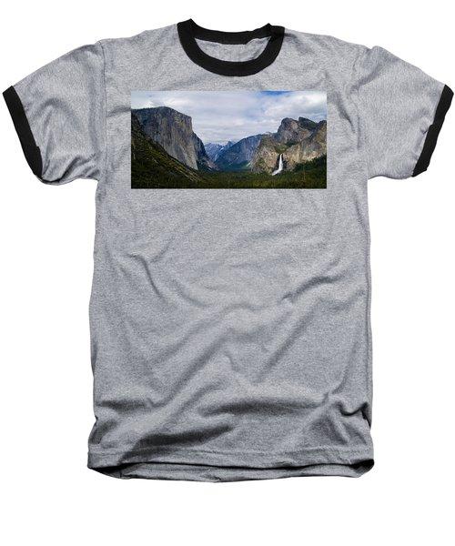 Yosemite Valley Panoramic Baseball T-Shirt by Bill Gallagher