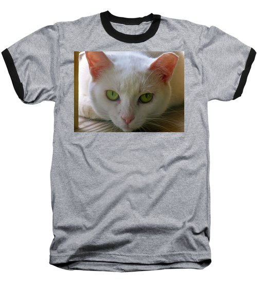 Baseball T-Shirt featuring the photograph You Lookin At Me by Sherman Perry