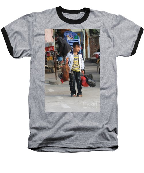 Young Boy Carrying A Dead Chicken To School Baseball T-Shirt