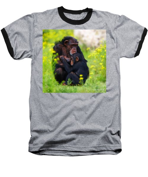 Young Chimpanzee With Adult - II Baseball T-Shirt