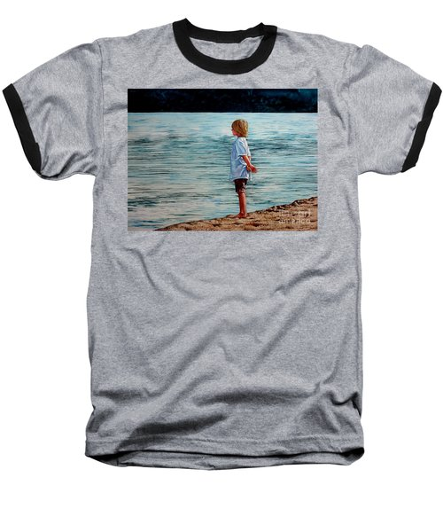 Young Lad By The Shore Baseball T-Shirt