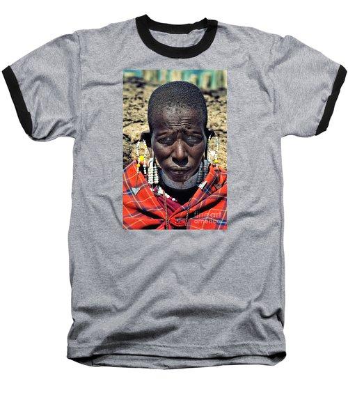 Portrait Of Young Maasai Woman At Ngorongoro Conservation Tanzania Baseball T-Shirt