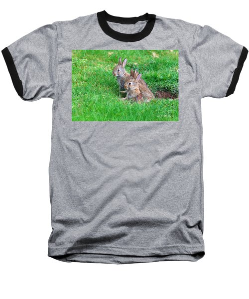 Young Rabbits Baseball T-Shirt by Nick  Biemans