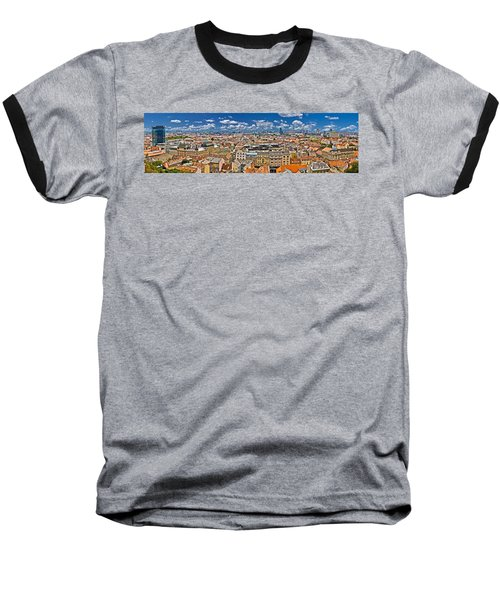 Zagreb Lower Town Colorful Panoramic View Baseball T-Shirt