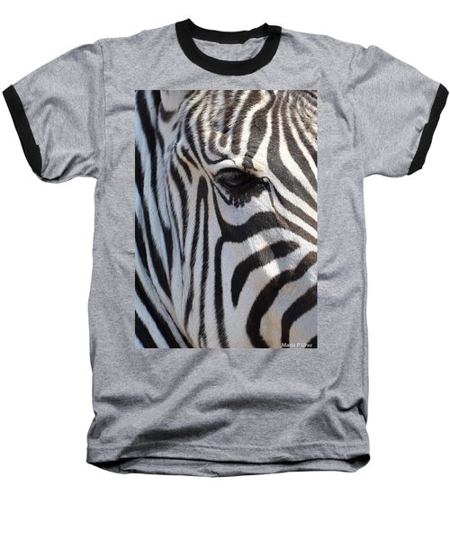 Zebra Eye Abstract Baseball T-Shirt by Maria Urso