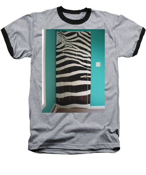 Zebra Stripe Mural - Door Number 2 Baseball T-Shirt by Sean Connolly
