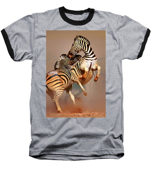 Zebras Fighting Baseball T-Shirt by Johan Swanepoel