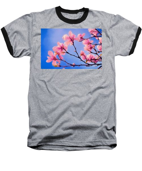 Cherry Blossums In Digital Watercolor Baseball T-Shirt