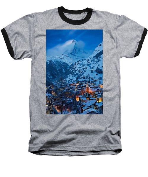 Zermatt - Winter's Night Baseball T-Shirt